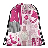Jiger Drawstring Tote Bag Gym Bags Storage Backpack, Fashion Theme In Paris with Outfits Dress Watch Purse Perfume Parisienne Landmark,Very Strong Premium Quality Gym Bag for Adults & Children