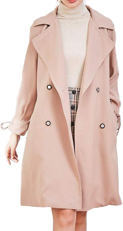 DFUCF Women's Woolen Coat Lantern Sleeve DoubleBreasted Winter Cardigan Overcoat