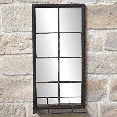 L'ORIGINALE DECO Miroir Industriel Haut Etagère Tablette Style Fenêtre Fer 80x40x15,50cm
