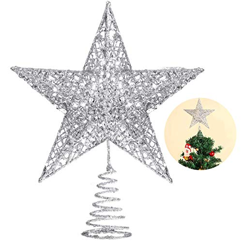 Bimkole Decoración para árbol de Navidad, estrella plateada para árbol de Navidad, adorno para decoración de interior, fiesta, dormitorio, decoración del hogar (25,4 cm, plateada)