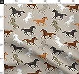 Pferde, Wasserfarben, Wild Stoffe - Individuell Bedruckt