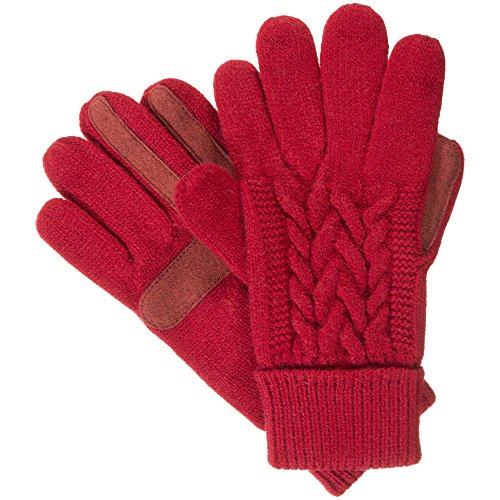 isotoner Women's Cable Knit Gloves with Touchscreen Palm Patches, One Size, Really Red