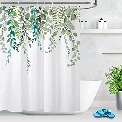 LB Watercolor Green Leaves Shower Curtain Spring Botanical Plant Branch Bouquet Floral Pattern Shower Curtain with White Backdrop 72x72 Inch Polyester Fabric with 12 Hooks