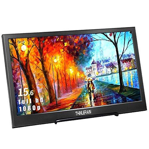 Thinlerain 15,6 Zoll Tragbarer Monitor HDMI Full HD Bildschirm 1920 x 1080 Portable Monitor USB Stromversorgung Eingebauter Lautsprecher für PS3/PS4/X Box/Raspberry Pi/PC
