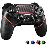 PS4コントローラー W&O DualShock 4 プレイステーション4 / Pro/Slim/PCおよびモーションモーターとオーディオ機能、ミニLEDインジケーター、USBケーブル、滑り止め付きラップトップ用ワイヤレスゲームパッド(赤)