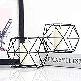 JUNGEN 2er Set 3D Geometrisch Kerzenständer Kerzenhalter Metall Vintage Kerzenständer Teelichthalter Deko Tischdeko für Hochzeit Weihnachten Wohnzimmer, 13 × 10 cm(Schwarz) - 3