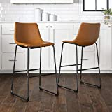 New Set of 2 Faux Leather Barstools with 28 Inch Seat Height Whiskey Brown