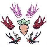 Parches para planchar/Patch Sticker, aplicado para la camiseta jeans Ropa Chaqueta Mochila Bolso y zapato, animal de dibujos animados golondrina pájaro 7PCS