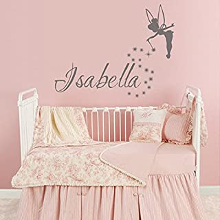 Personalized Name Wall Decal Fairy Girl Wall Art Tinkerbell Wall Decals Baby Girls Nursery Decor (Gray,36