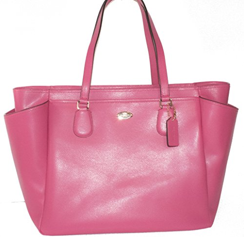 COACH Crossgrain Leather Baby Diaper Bag Multifunction Tote in Light Gold/Dahlia Pink 35702