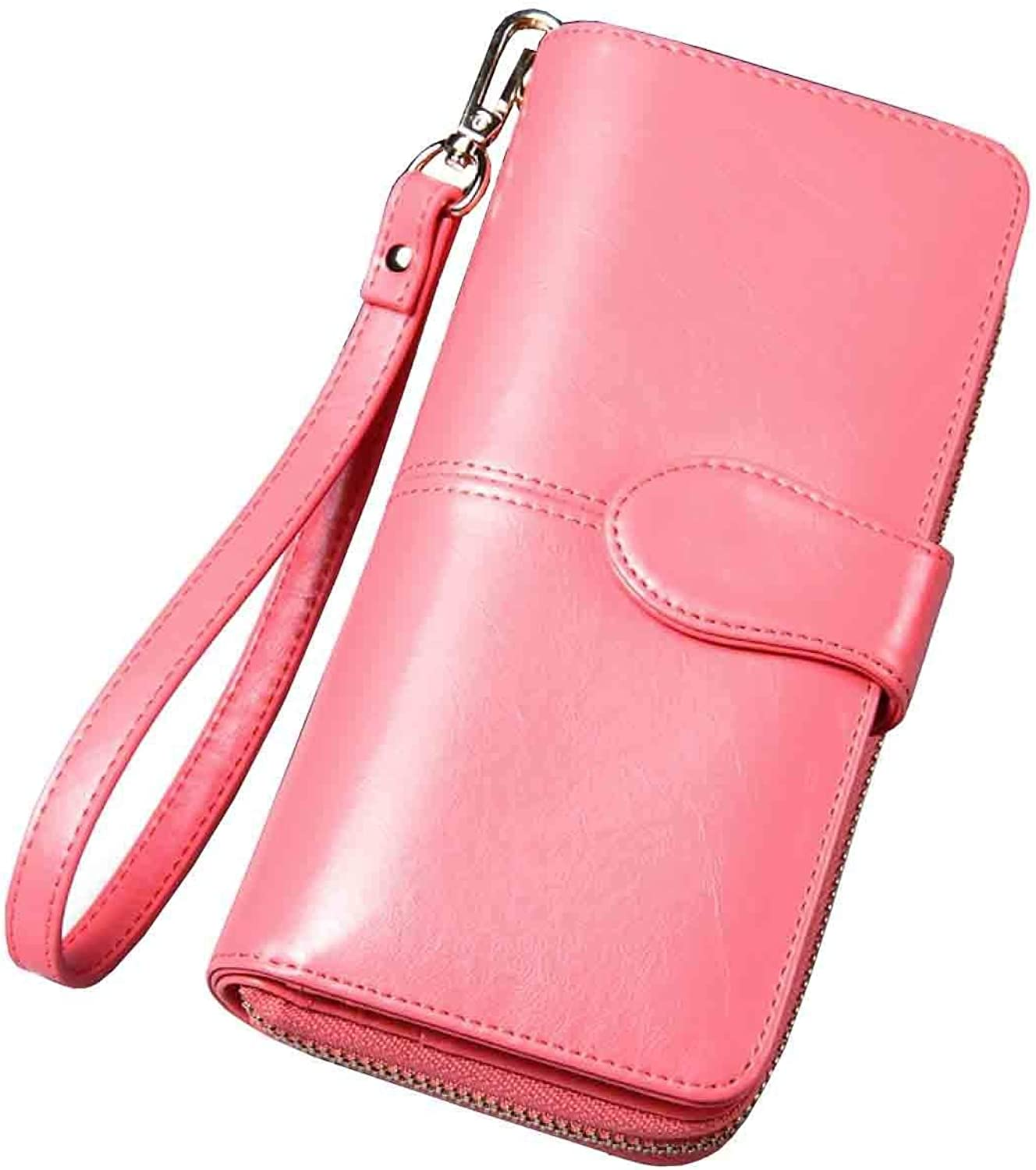 Cross Women Large Capacity Leather Zipper Wallet Purse Wristlet Handbag with Removable Wrist Strap for Work (color   5, Size   One Size)