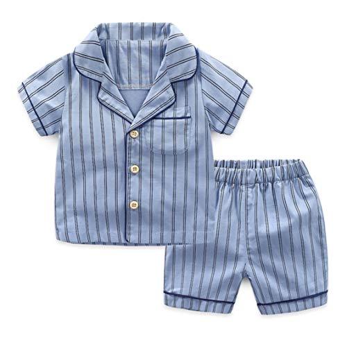 Citron ストライプ パジャマ 寝巻き 男の子 女の子 子供服 ボタン シンプル 白 青 春服 夏服 秋服 (青, 130cm)