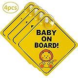 Baby On Board -YUESEN - Señal De Bebé a Bordo Para Coche  Fácilmente Visible – Diseño Atractivo Amarillo Brillante   Autos Etiquetas De Seguridad Fácil De Instalar Impermeable 4 Pack