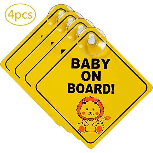 YUESEN Baby on Board Schild 4 Stück Baby an Board Aufkleber Mit Saugnapf Kind Auto Aufkleber Hitzebeständig,Warnschild Für Auto Mit Gelb