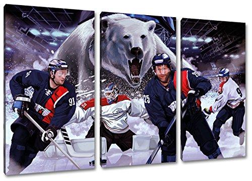 Berlin Eishockey, Fan Artikel Leinwandbild 3Teiler Gesamtmaß 120x80cm, Auf Holzrahmen gespannt, Kein Poster oder billig Plakat, Must Have für echte Fans