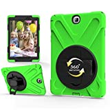 ZORSOME Pirate Series Three-in-one Shatter-Resistant Shell for Samsung TabA 9.7 T550/T555, Drop-Proof, Dust-Proof, Shock-Proof,360 Degree Rotating Multi-Function Grip Bracket (Color : Green)