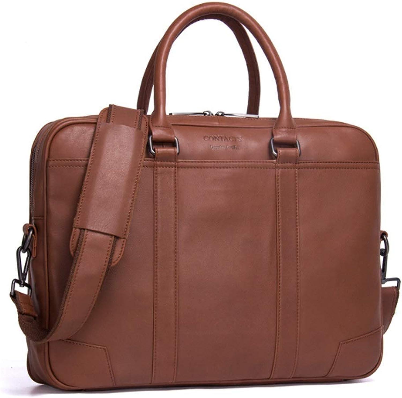 SDFIUH Herren Business Aktentasche Leder Schultertasche Casual Handtasche (Farbe   braun, Größe   L) B07QDMRNW8  Berühmter Laden