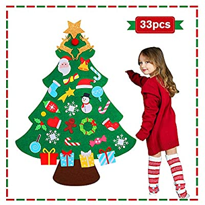 jumping meters DIY Felt Christmas Tree for Toddlers -2020 for Kids Christmas Toys , Christmas Craft Kits Set for Kids , Hanging Christmas Decorations Wall with 33 Ornaments