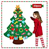 jumping meters DIY Felt Christmas Tree for Toddlers, 2020 for Kids Christmas Toys , Christmas Craft Kits for Kids , Hanging Christmas Decorations Wall with 33 Ornaments