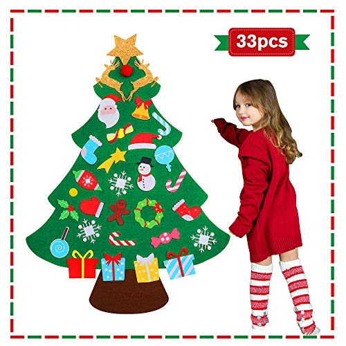 DIY Felt Christmas Tree for Toddlers 2021 for Kids Christmas Toys Christmas Craft Kits for Kids Hanging Christmas Decorations Wall with 33 Ornaments (Multicolored)