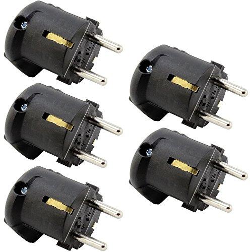 com-four® 5X Schutzkontaktstecker gewinkelt schwarz mit Schutzkontakt Winkelstecker montierbar bruchfest (05 Stück - schwarz)