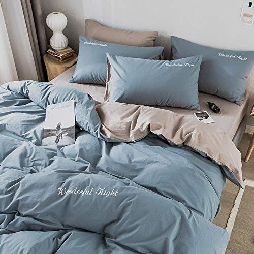 flqwe Bed Set Met Dekbedovertrek En Kussensloop, Katoen vierdelig pak, dekbedovertrek AB versie effen kleur, Dekbedovertrek Dubbele Bed Set