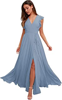 Stylefun V-Neck Bridesmaid Dresses with Sleeves Long Simple A-line Formal Dresses for Women 2020 BD006