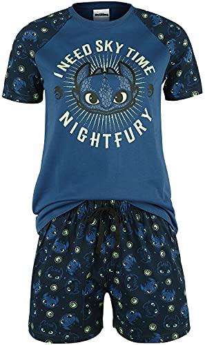 Drachenzähmen leicht gemacht Cómo Entrenar a tu dragón Sky Time Mujer Pijama Azul Oscuro XL, 100% algodón,