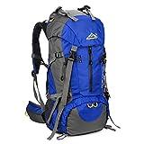 SKYSPER 50L Zaino da Treking, Zaino Impermeabile con Copertura della Pioggia per Viaggio Trekking Escursione Blu