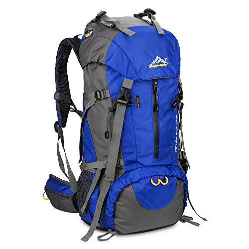 SKYSPER Sac à Dos de Randonnée 50L (45 + 5) en Nylon avec Housse de Protection Imperméable Ultraléger pour Alpinisme Escalade Trekking Voyage Camping Unisexe Sac à Dos de Sports en Plein air Bleu