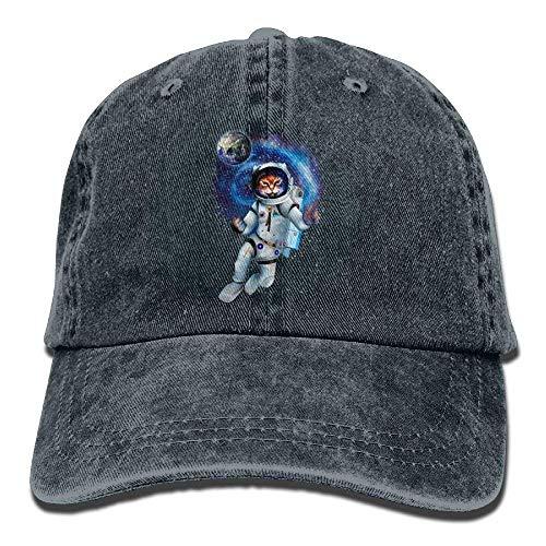 Preisvergleich Produktbild Presock Cat Dressed in Space Suit Denim Hat Adjustable Male Cute Baseball Hat