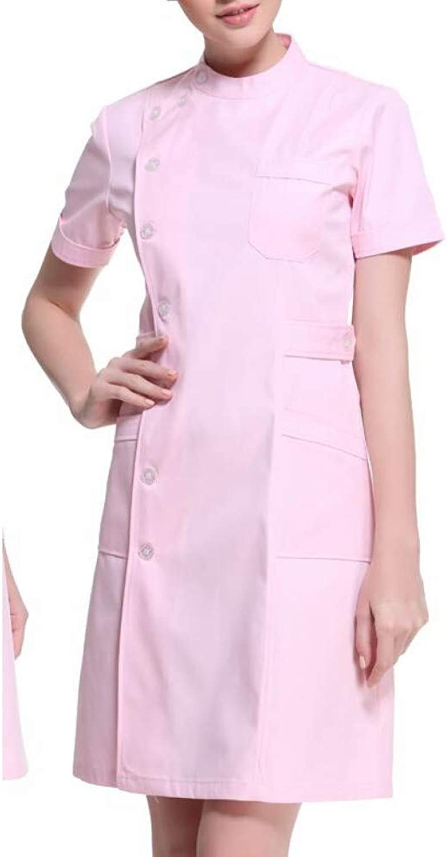 ESENHUANG Women Medical Lab Coats Doctor Nurse Uniform Hospital Nursing Scrub O