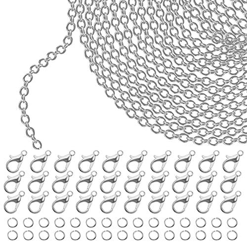 Kurtzy Cadena de Eslabones Plateada para Hacer Joyas 10 m x 2,5 mm - Cadenas para Collares de Hierro, 30 Pinzas de Langosta, 30 Anillas Abiertas - Kit para Hacer Pulseras, Colgantes, Hombre y Mujer