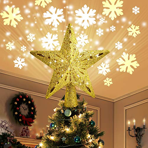COOLWUFAN Christmas Tree Topper Lighted Star with LED Rotating Snowflake Projector Lights, 2-in-1 Gold Glittered 5 Point 9.8 Inch Star Tree Topper Snowfall LED Lights for Xmas Tree Decoration (Gold)