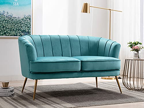 Altrobene Velvet Modern Couch Contemporary Channel Tufted Loveseat Comfy Barrel Curved Sofa with Gold Legs for Living Room, Bedroom, Office, Turquoise
