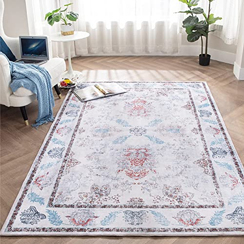 Bedsure Living Room Rug 5x7 Area Rug, Rug for Living Room, Vintage Distressed Bohemian Area Rug, Persian Rug Carpet Ivory/Multi