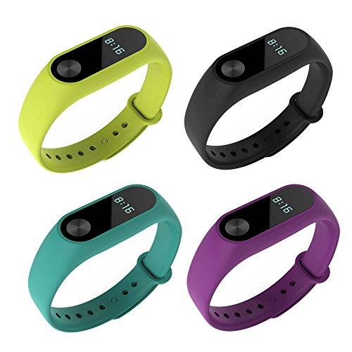 PINHEN Band Compatible with Xiaomi Mi Band 2 - Replacement Soft Sport Wristband Strap Bracelet Fit Xiaomi Mi Band 2 Smart Watch (Silicone 4pcs Set2)