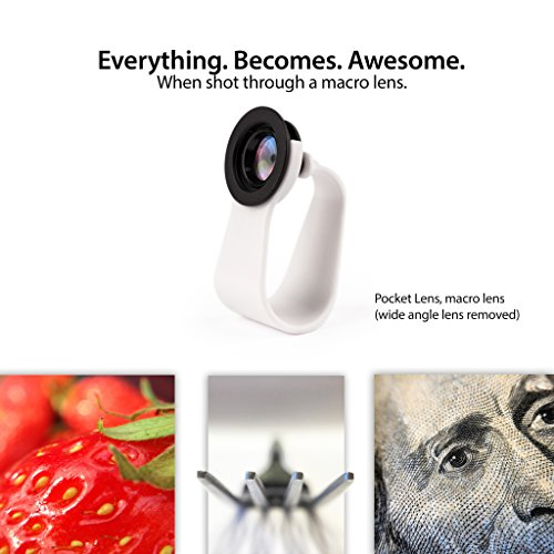 iPhone Camera Lens and Smartphone Lens Kit by Pocket Lens – Macro (closeup) and Wide Angle Lens Alternative for Olloclip Fits Most Cases, Comes With Small Carry Pouch iPhone 4/4s/5/6/iPad and Others. Add Creativity to Your Smartphone Pics Now!