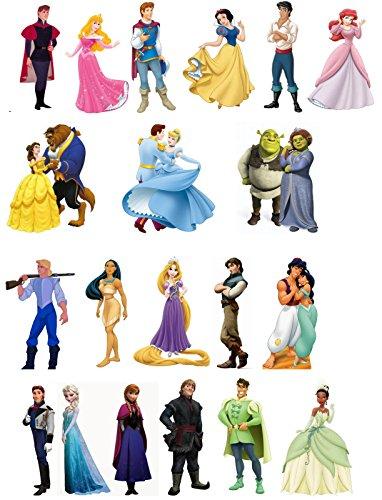 20 Décorations Princes et Princesses en papier comestible pour gâteaux