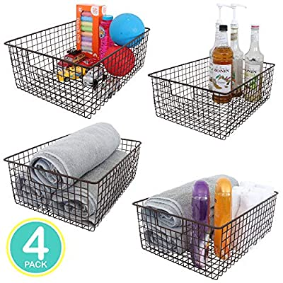 "Kitchen Basics 101 Large Farmhouse Metal Wire Storage Basket Bins with Handles 16"" x 12"" x 6"" Closets, Shelves, Cabinets, Bathrooms by Kitchen Basics 101"