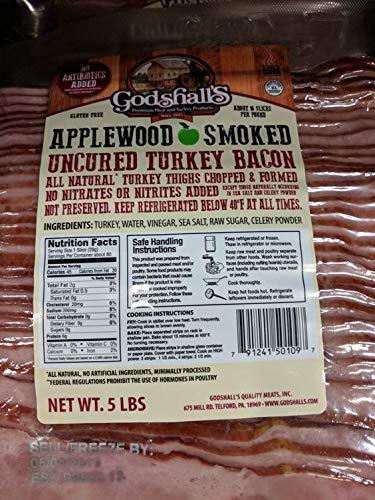 Godshall#039s Applewood Uncured Turkey Bacon 5 Lb