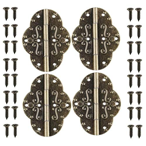 Bisagra Bisagras de la puerta de gabinete multifunción, 4 piezas de bisagras retro antiguas para el hogar con tornillos para la puerta de la puerta del gabinete Caja de madera de regalo de joyería bis