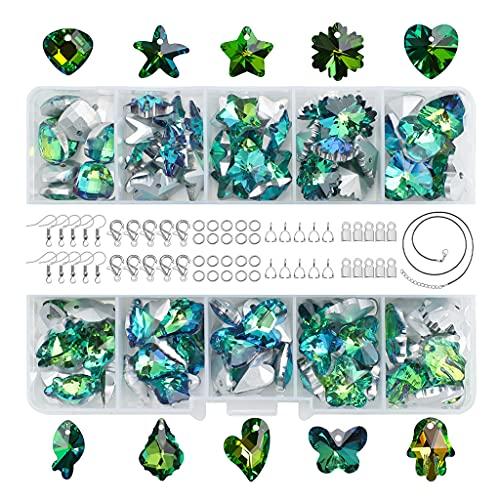 Hellery 100 Piezas de Cuentas de Cristal de Forma Mixta, Colgante de Flor de corazón de Mariposa para Pulseras, Collar, fabricación de Joyas, Bricolaje - Verde