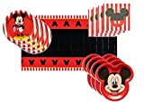Mickey Mouse Party Supplies Tableware Bundle Pack for 16 Clubhouse Guests - Includes 16 Dinner Plates, 16 Dessert Plates, 16 Dinner Napkins, and 1 Tablecover
