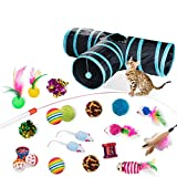 Dono 21Pcs Cats Feather Toys-Kitten Interactive Pet Toys Assortments (2 or 3 Way Hole Tunnel) Cat Feather Wand Fun Ball Chew Sticks, Fluffy Mouse, Fake Mice, Crinkle Balls, Bell Play Supplies