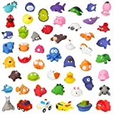 Liberty Imports 50 PCs Rubber Animals Water Bath Squirties - Squeeze and Squirt Bathtub Squirters - Ideal Toys for Kids, Babies, Toddlers Bathtime (Mega Pack)