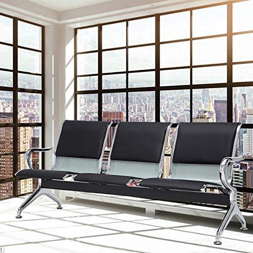 Sliverylake Office Chair Guest Reception Chairs Waiting Room Chairs Salon Barber Bank Hall Room Conference Airport with Black Leather Cushion 3 Seat Bench Furniture