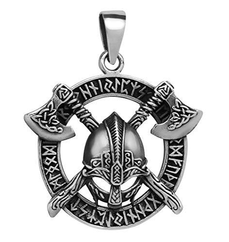 schmuxxi Herren Anhänger 925 Silber Wikinger Helm mit Axt und Germanen Runen