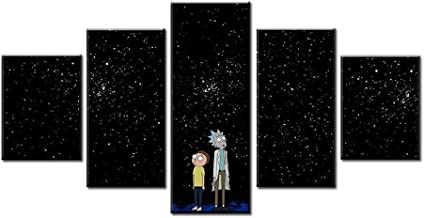 Home Decor Wall Art Pictures 5 Panel Cartoon Poster Rick and Morty Canvas Prints Clusters of Stars Painting Modern Living Room Modular Framed