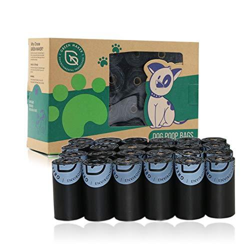 Green Maker Bolsas de Compost para Perros 30% más Grueso que Otros 360 Bolsas de Desechos Biodegradables para Perros Hechas de Almidón de Maíz (Negro)
